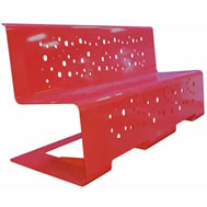 double fold steel bench with back