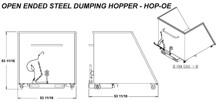 Open Ended Steel Dumping Hopper Steel Chute Hoppers