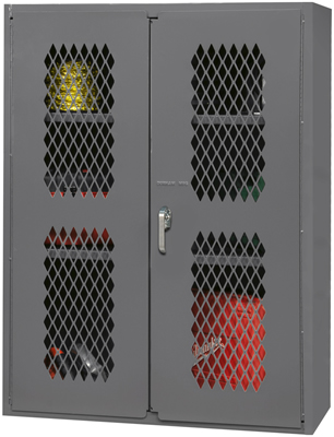 industrial storage cabinet with doors. Industrial Duty All Welded 16 Gauge Steel Construction \u2022 Punched Diamond  Pattern In Doors Allows Content Visibility Industrial Storage Cabinet With